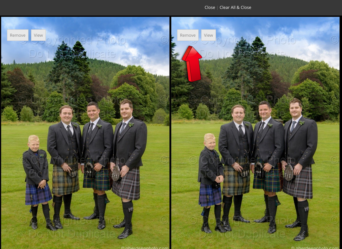 In a side by side view you can see enlarged version of compared images, and remove the one that you dislike by clicking the  Remove  button above the image. Please note that this does not remove the image from the favourites list, but only from compare list.